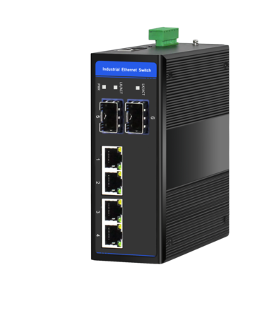 Industrial Ethernet Switch, 4 x 10/100/1000M Base-TX + Uplink 2 x 100/1000M Base-FX SFP