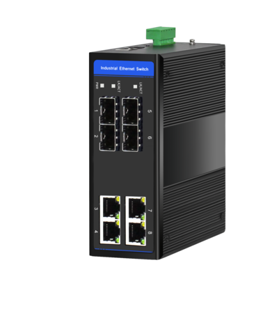 Industrial Ethernet Switch, 4 x 10/100M Base-TX + Uplink 4 x 100M Base-FX SFP